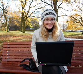 Design student doing homework outdoors